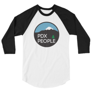 PDX People – Unisex Fine Jersey Raglan Tee - Black/White