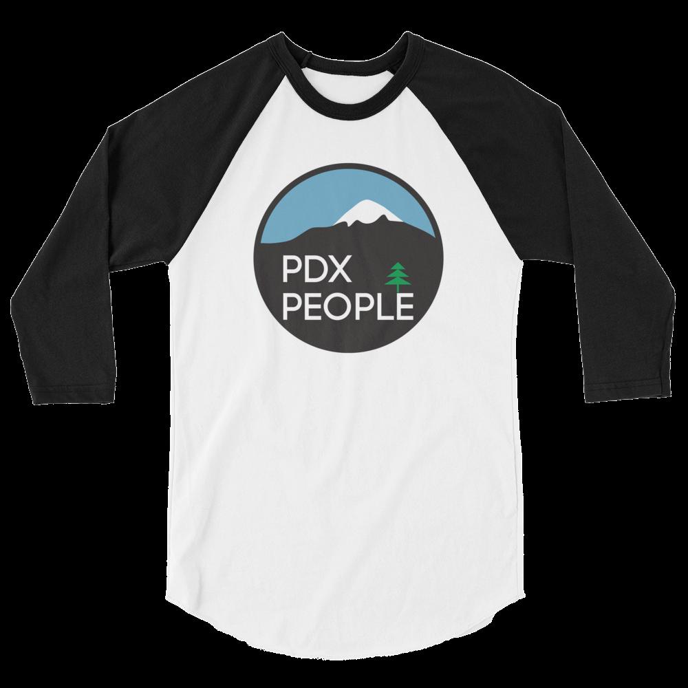 PDX People – Unisex Fine Jersey Raglan Tee - Black/White