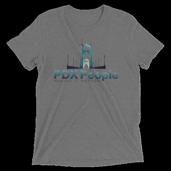 PDX People - St Johns Bridge - Grey-Triblend - T Shirt