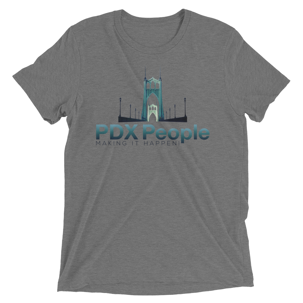 PDX People - St Johns Bridge - Grey-Triblend - T Shirt